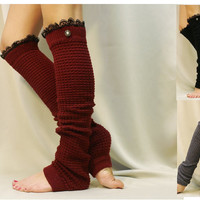 Dancer ballerina yoga EXTRA LONG  leg warmers womens -Burgundy popcorn texture, lace buttons by Catherine Cole Studio legwarmers