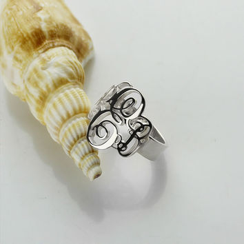 Customized Vine Monogram Ring Sterling Silver Monogrammed Initials Ring Fancy Monogram Name Ring Fall In Love  Jewelry
