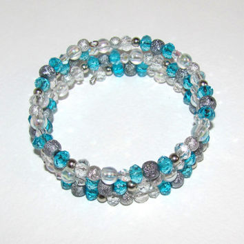 Aqua Memory wire Ice blue bracelet Gift idea Multistrand Ukraine Mixed beads summer jewelry Crystal Spiral bracelet Gifts under 25 Layering