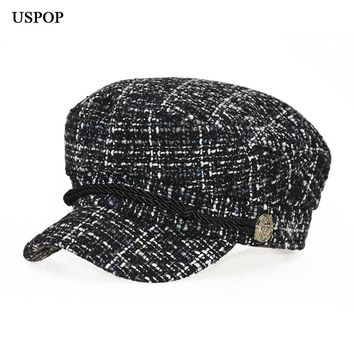 USPOP New women winter hat fashion warm plaid tweed newsboy caps f410a65b556d