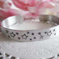 Stars Hand Stamped Cuff Bracelet Made To Order