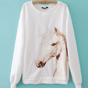 Embroidery Horse Head Unicorn Cotton Sweaters
