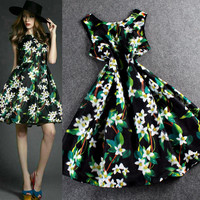 Spring Sleeveless Digital Print Swing Mini Dress