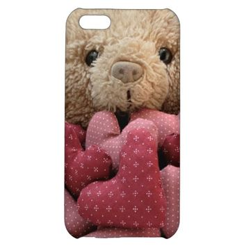 teddy bear with fabric hearts iPhone4S case