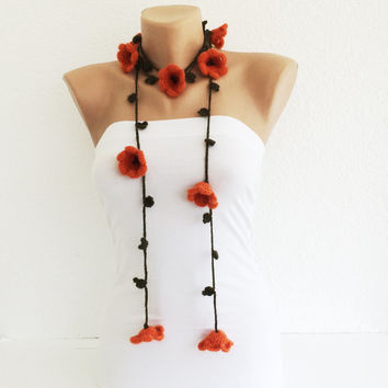 Orange Lilies, Olive Green Crochet Necklace, Lariat, Beadwork, Crochet Accessories for Women, ReddApple, Gift Ideas