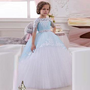 Pageant Dresses For Girls Light Blue Long Flower Girl Dress For Toddlers Teens Kids Formal Wear Birthday Party Communion Gowns