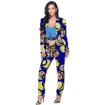Elegant women african print suit fashion collarless blazers and pants set ladies casual dashiki sets clothes of africa clothing