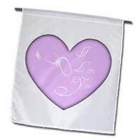 3dRose fl_38519_1 I Love You Heart Wedding Rings Romantic Art Garden Flag, 12 by 18-Inch