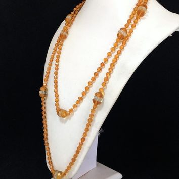 Czech Amber Crystal Glass Bead Necklace, Art Deco Era, 54 Inches Flapper Length, Hand Knotted Faceted Beads, Vintage Jewelry 818m