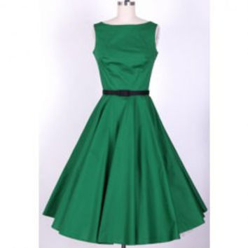 Vintage Scoop Neck Pleated Sleeveless Green Women's Country Dress