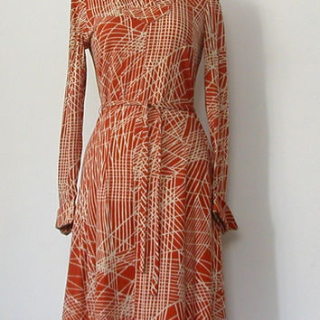 1970s Dress  rust DVF style wiggle shift dress by roguegirlvintage