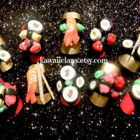 Super yummy 3d Sushi Nails - False/fake nails - Japanese Nail Art - polymer clay