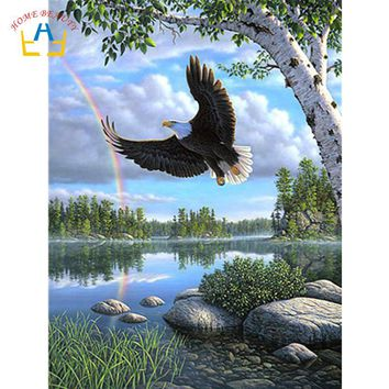 landscape eagle animal pictures by numbers drawing on canvas wall art paintings for the kitchen home decor acrylic paints WY5217