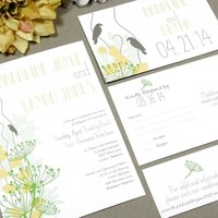 Rustic Love Birds | Modern Wedding Invitation Suite by RunkPock Designs | Spring Wedding Leaves Nature Handwritten Invitation | shown in green, pale yellow, champagne tan