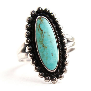 Vintage Sterling Silver Turquoise Ring - Size 8 Native American Jewelry / Blue Bliss
