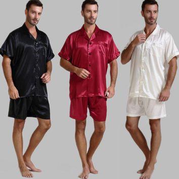 Mens Silk Satin Pajamas Short Set Sleepwear Loungewear U.S.S,M,L,XL,2XL,3XL ,4XL Solid__6Colors  FREE SHIPPING