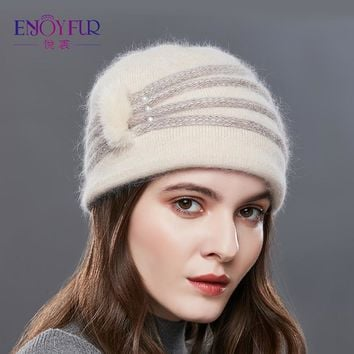 ENJOYFUR Pearl Decoration Cashmere Knitted Hat Female Oblique Stripes Winter Hats Women Thick Warm Beanies Lady Middle-Aged Caps