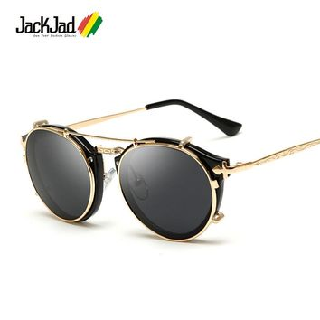 JackJad 2017 Fashion Style SteamPunk Clamshell Removable Sunglasses Vintage Retro Brand Design Sun Glasses Oculos De Sol Gafas