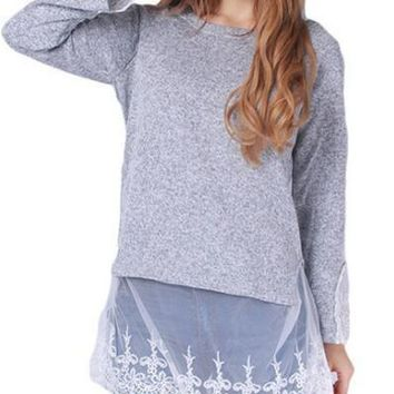 Lace Patchwork Loose Sweater
