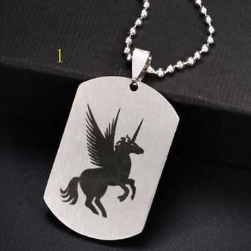 Unicorn DIY accessories couple stainless steel necklace