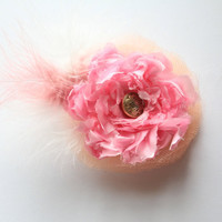 Shabby Chic Style Pink & Cream Flower Fascinator with Silk and Netting