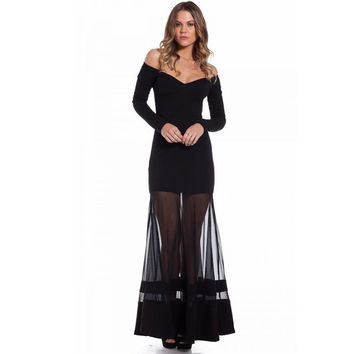 R70229  Elegant off the shoulder women's long dress fashion 2016 new black dress full sleeve sexy maxi dresses long