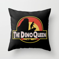The Dino Queen Throw Pillow by Page394