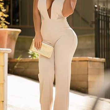Beige Backless Cut Out Halter Neck High Waisted Club Party Long Jumpsuit