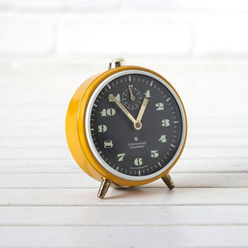 Vintage German Alarm Clock Mustard Yellow and Black by Junghans
