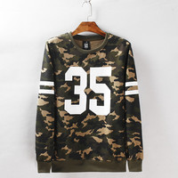 Winter Couple Print Camouflage Pullover Korean Slim Hoodies [6541234243]