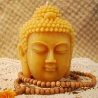 Beeswax Candle BIG Buddha Head Sadhana Meditation Contemplation Altar Candle