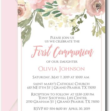 Floral Beauty First Communion Invitations