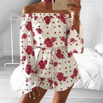 Women Sexy Slash Neck Flare Sleeve Floral Print Clothes