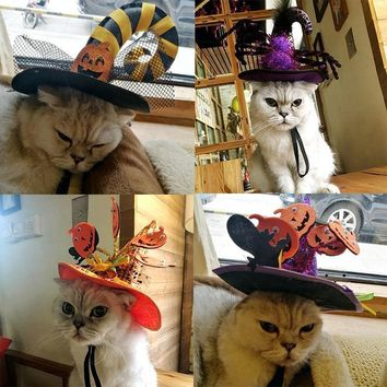 Funny Cat Clothes Costume Pumpkin Hat For Cat Cool Halloween Costume Pet Clothes Suit Halloween Party Accessory