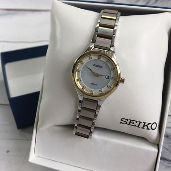 Seiko Two-Tone Stainless Steel Solar Watch with Diamond Markers