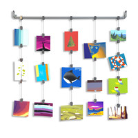 Hanging Rail Kids Arts Projects Crafts Display Photo Organizer with Clips and Chains  Gray