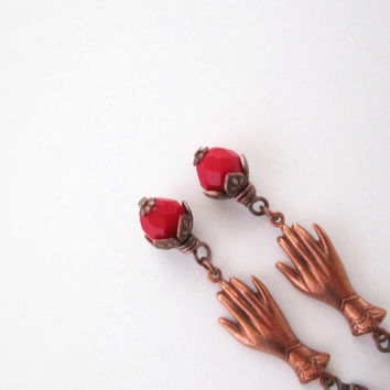Red Hand Earrings - Coral Red - Rosy Copper