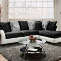 Black and White Couch, Pattern Pillows | ZigZag 2-Piece Sectional Sofa