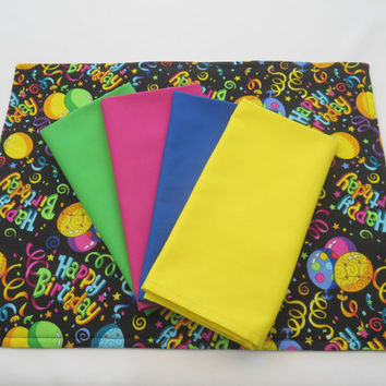 Happy Birthday Placemats, Set of 4, with Coordinated Napkins, Eco Friendly Reusable Birthday Party Decor, Dining Table Linens, New Home Gift