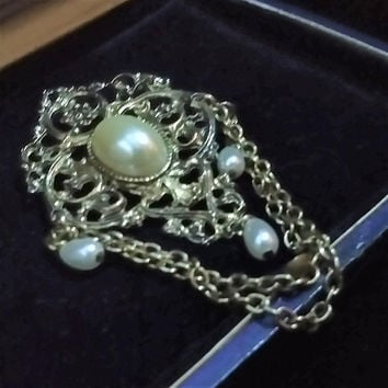 Vintage Old Style Victorian Revival Filigree Large Festoon Gold Tone Faux Pearl Teardrop Dangle & Swag Chains Steampunk Brooch Pin Clip