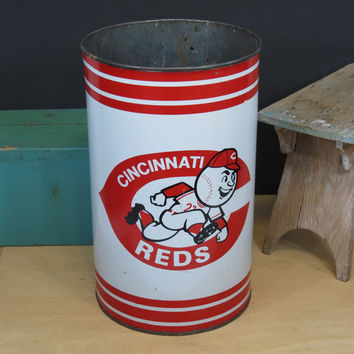 Cincinnati Reds Baseball MLB Vintage Metal Trash Can 1968