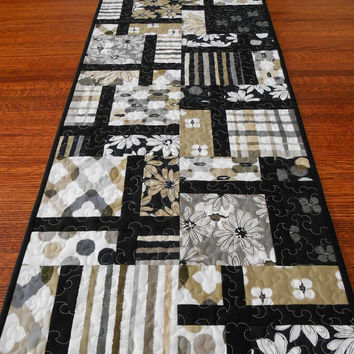 Modern Table Runner in Black Tan and Gray - Quilted Table Runner - Contemporary Runner - Long Table Quilt - Shadows by Michele D'Amore -