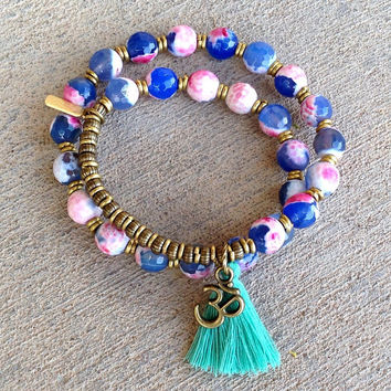 Dream, Agate 27 bead wrap mala bracelet™ with Om charm and tassel