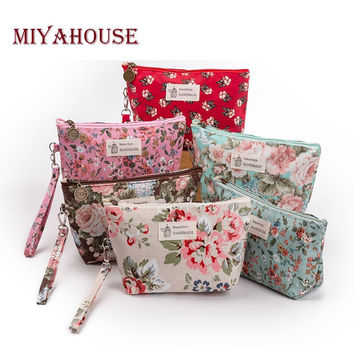 Miyahouse New Vintage Floral Printed Cosmetic Bag Women Makeup Bags Female Zipper Cosmetics Bag Portable Travel Make Up Pouch