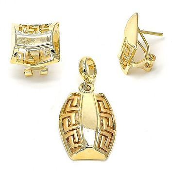 Gold Layered 10.59.0161 Earring and Pendant Adult Set, Greek Key Design, Polished Finish, Gold Tone