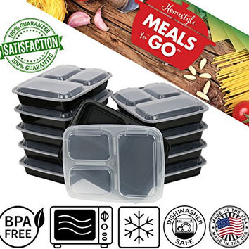 MealsToGo Plastic Lunch Boxes with Lids 3 Compartment Container 32 oz BPA Free, Stackable, Reusable, Microwave Safe, Bento Lunch Box Set, Made in USA, Great to Prepare Food For Adults & Kids(10 Pack)