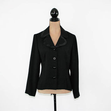 Dressy Black Jacket Women Medium Petite Satin Trim Lightweight Jacket Size 10 Jacket Leslie Fay Vintage Clothing Womens Clothing
