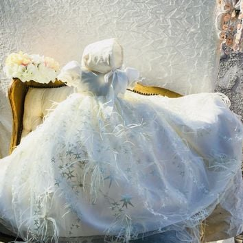 Star-christening feather gown-baptism-bautizo-bautismo