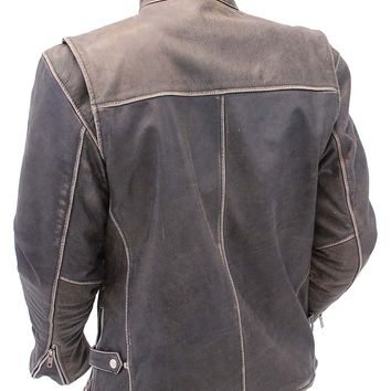 Vintage Brown Rebel Rider Leather Motorcycle Jacket - Scooter Style #MA11026ZDN