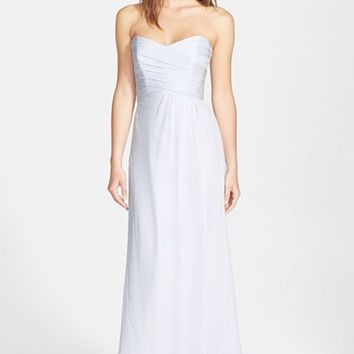 Amsale Strapless Crinkle Chiffon Gown | Nordstrom